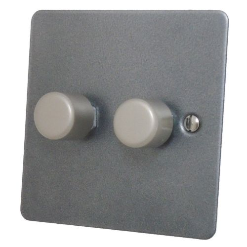 G&H FP12 Flat Plate Pewter 2 Gang 1 or 2 Way 40-400W Dimmer Switch